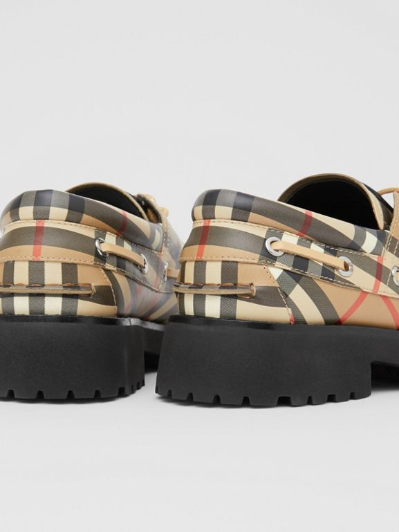 Vintage Check Leather Boat Shoes in Archive Beige - Children | Burberry - cell image 1