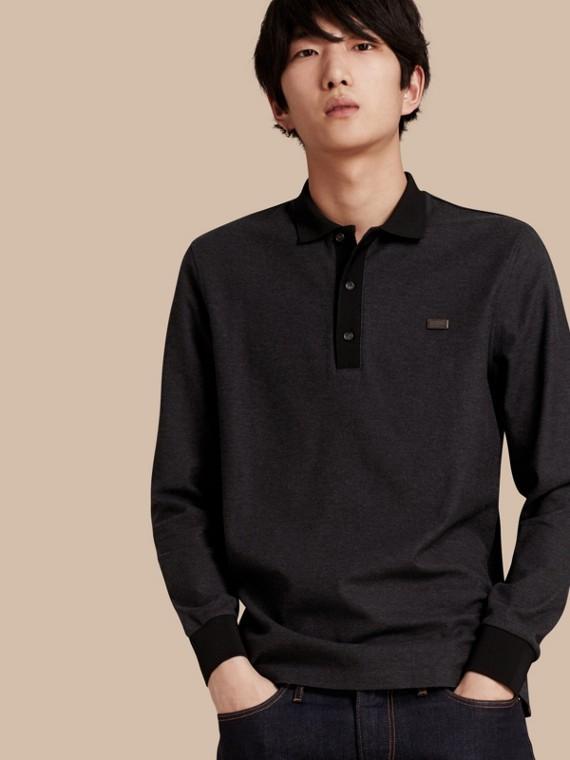 Camisa polo de algodão piquê com mangas longas Charcoal/preto
