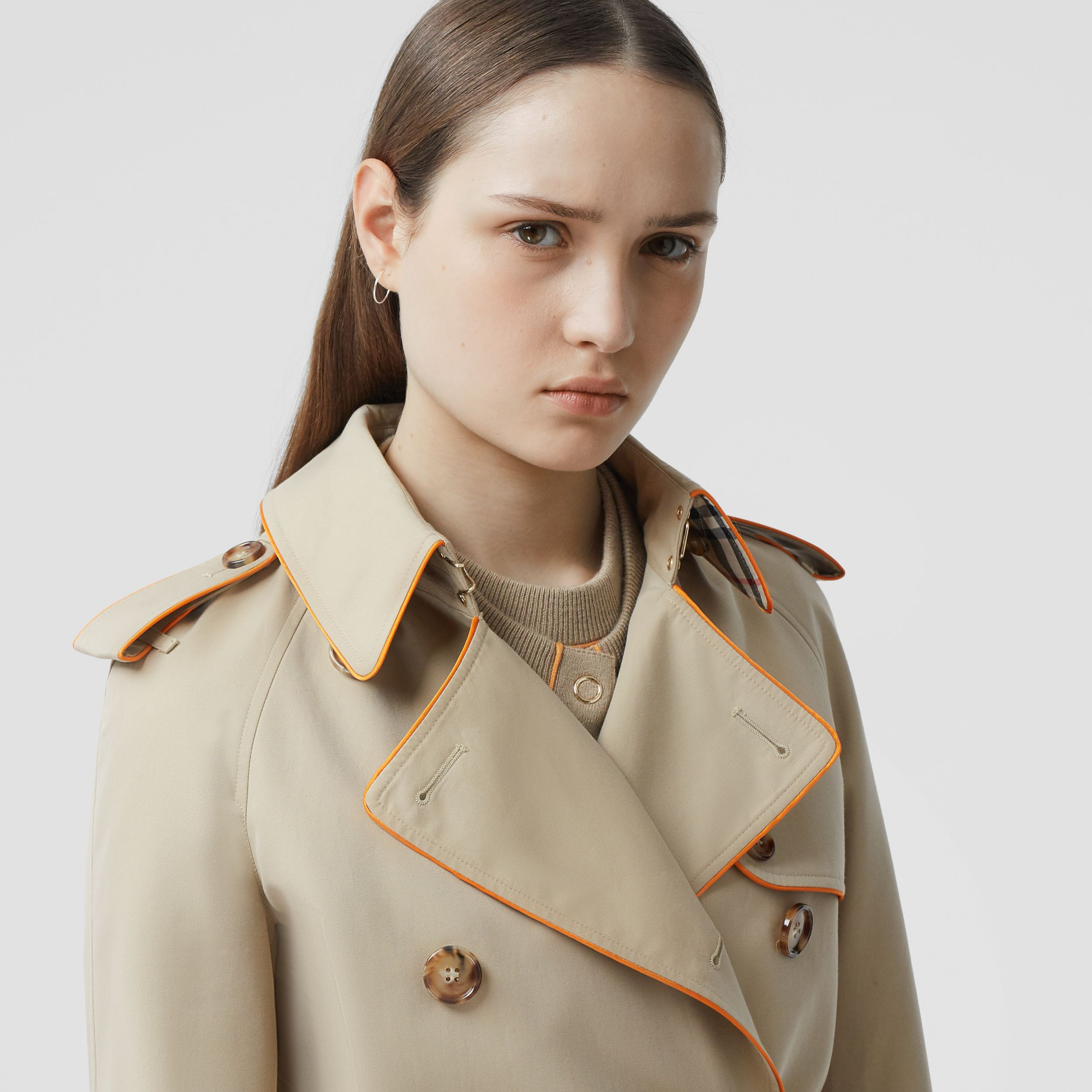 Piped Cotton Gabardine Trench Coat in Honey - Women | Burberry Canada - 2