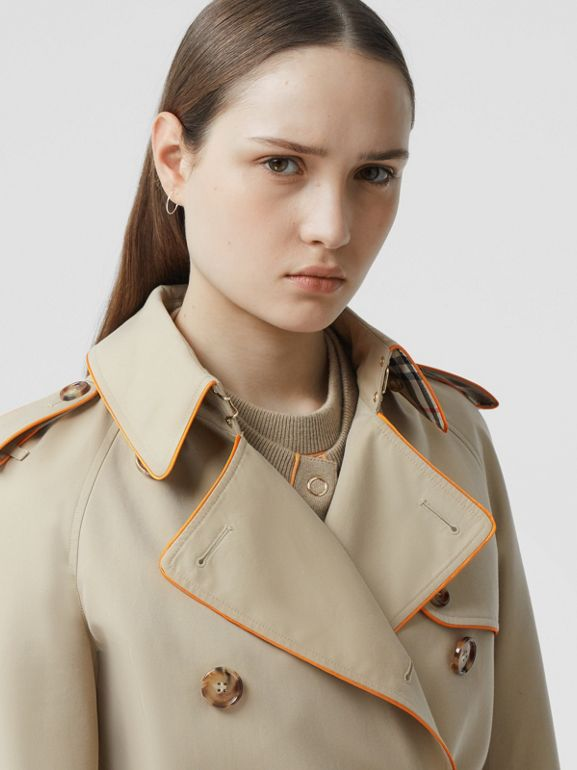 Piped Cotton Gabardine Trench Coat in Honey - Women | Burberry - cell image 1
