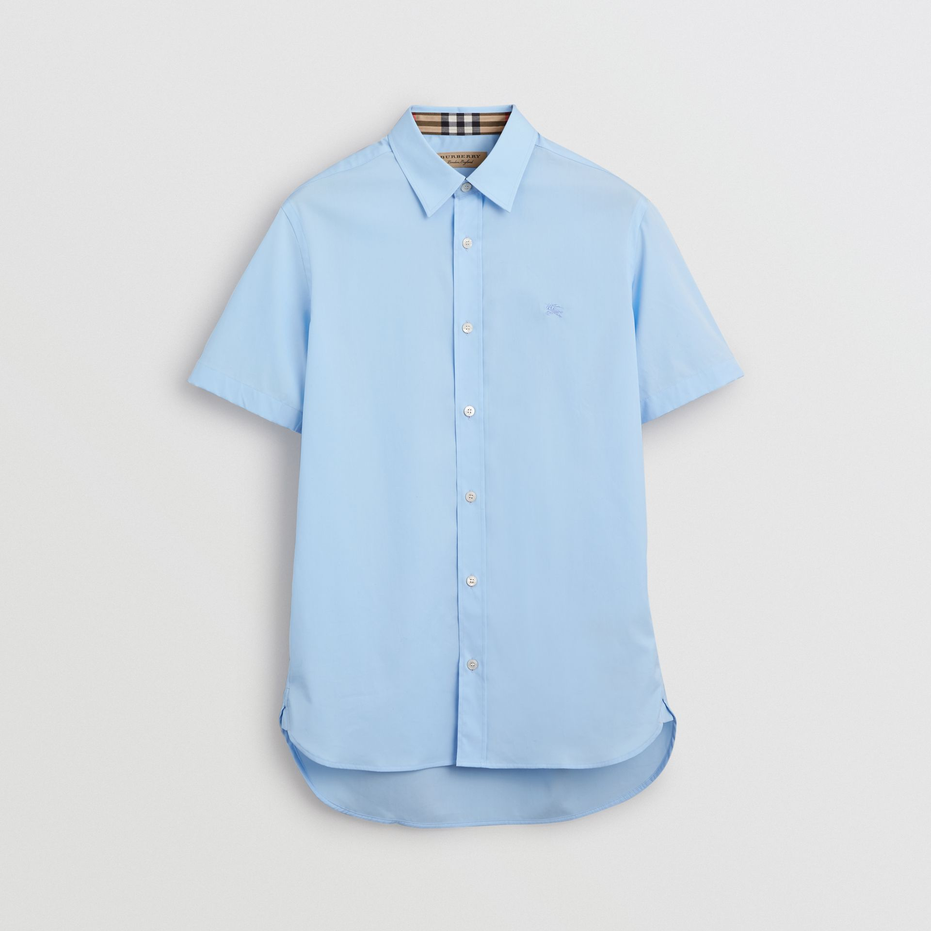 Short-sleeve Stretch Cotton Shirt in Pale Blue - Men | Burberry United Kingdom - gallery image 3