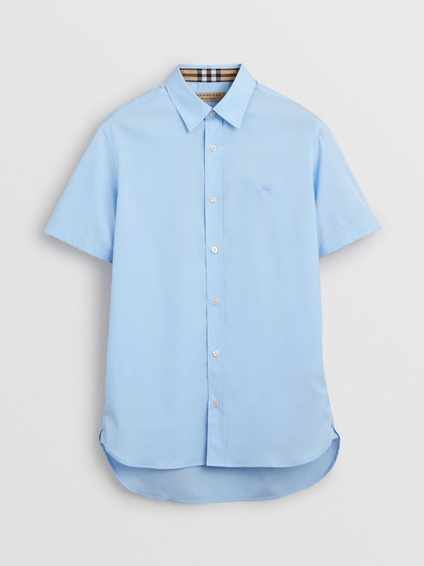 Short-sleeve Stretch Cotton Shirt in Pale Blue - Men | Burberry - cell image 3