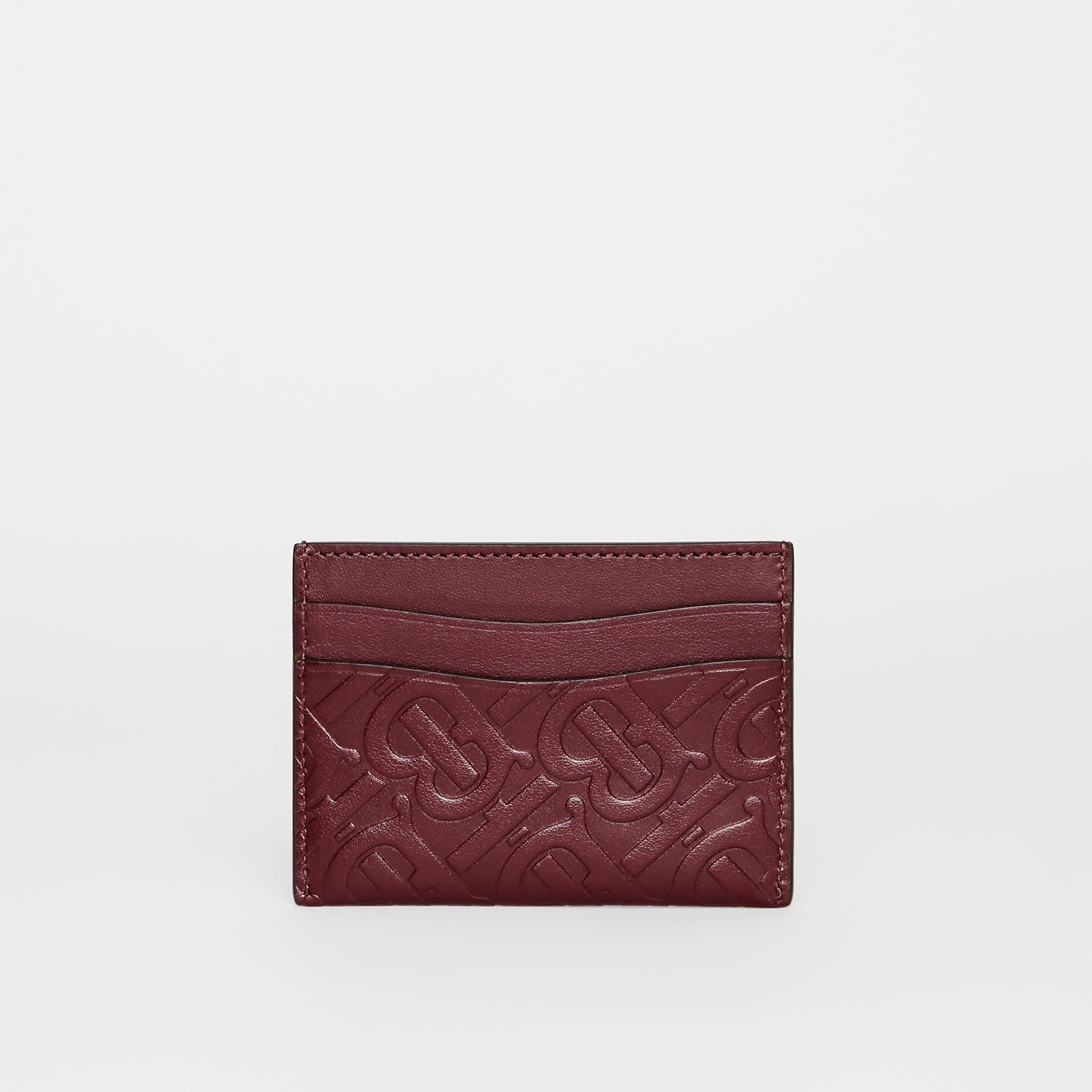 Monogram Leather Card Case in Oxblood - Women | Burberry Australia - gallery image 4