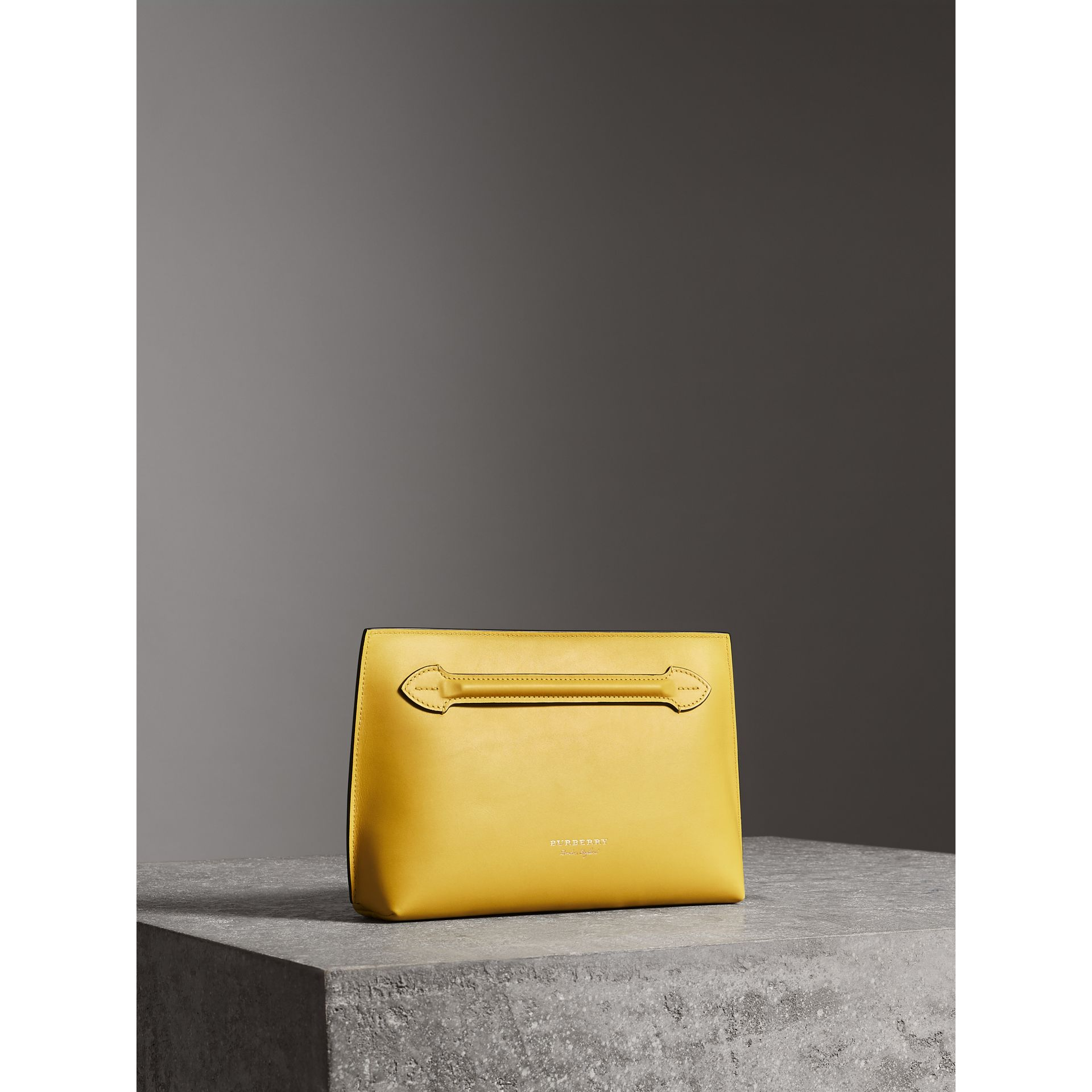 Leather Wristlet Clutch in Bright Larch Yellow - Women | Burberry United Kingdom - gallery image 7