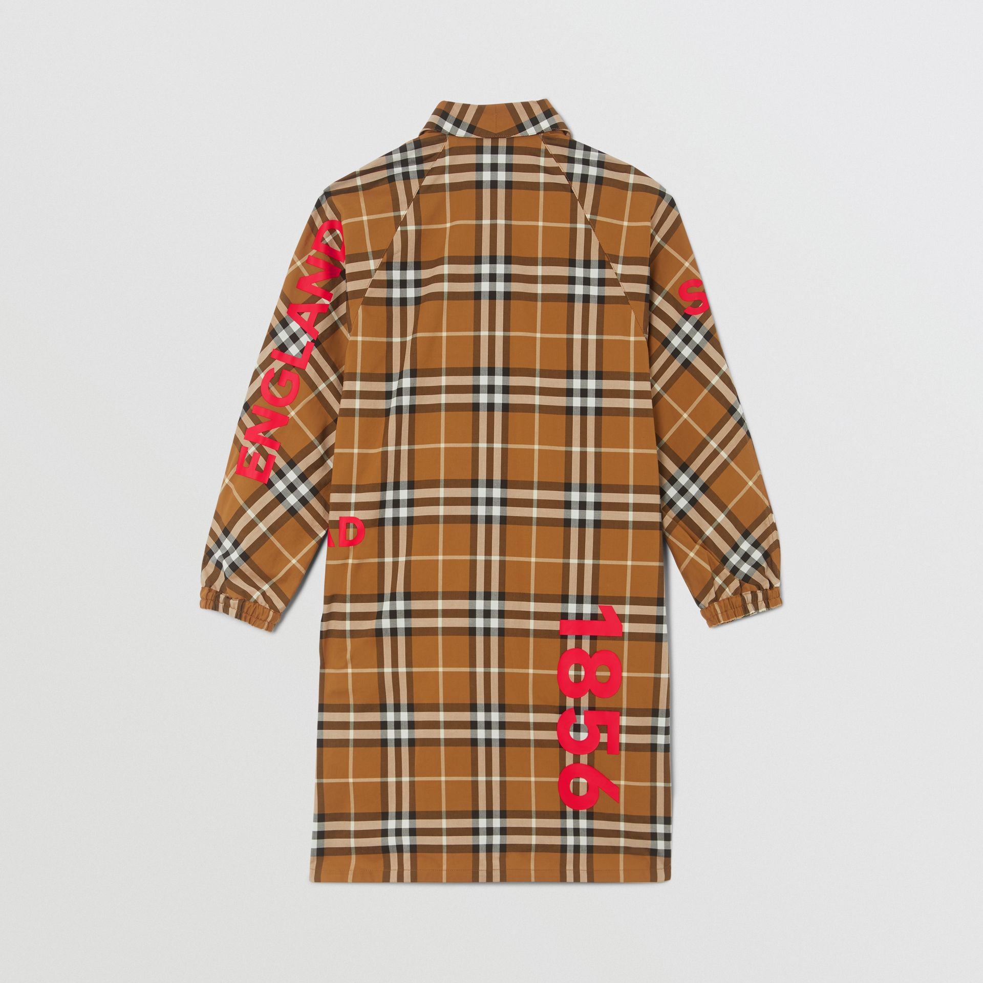 Horseferry Print Check Cotton Shirt Dress in Warm Walnut | Burberry United Kingdom - gallery image 3