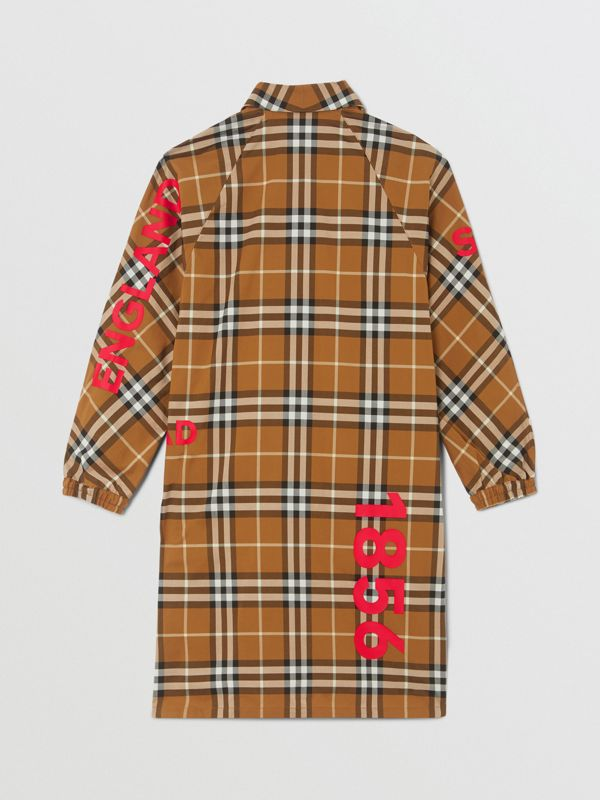 Horseferry Print Check Cotton Shirt Dress in Warm Walnut | Burberry - cell image 3