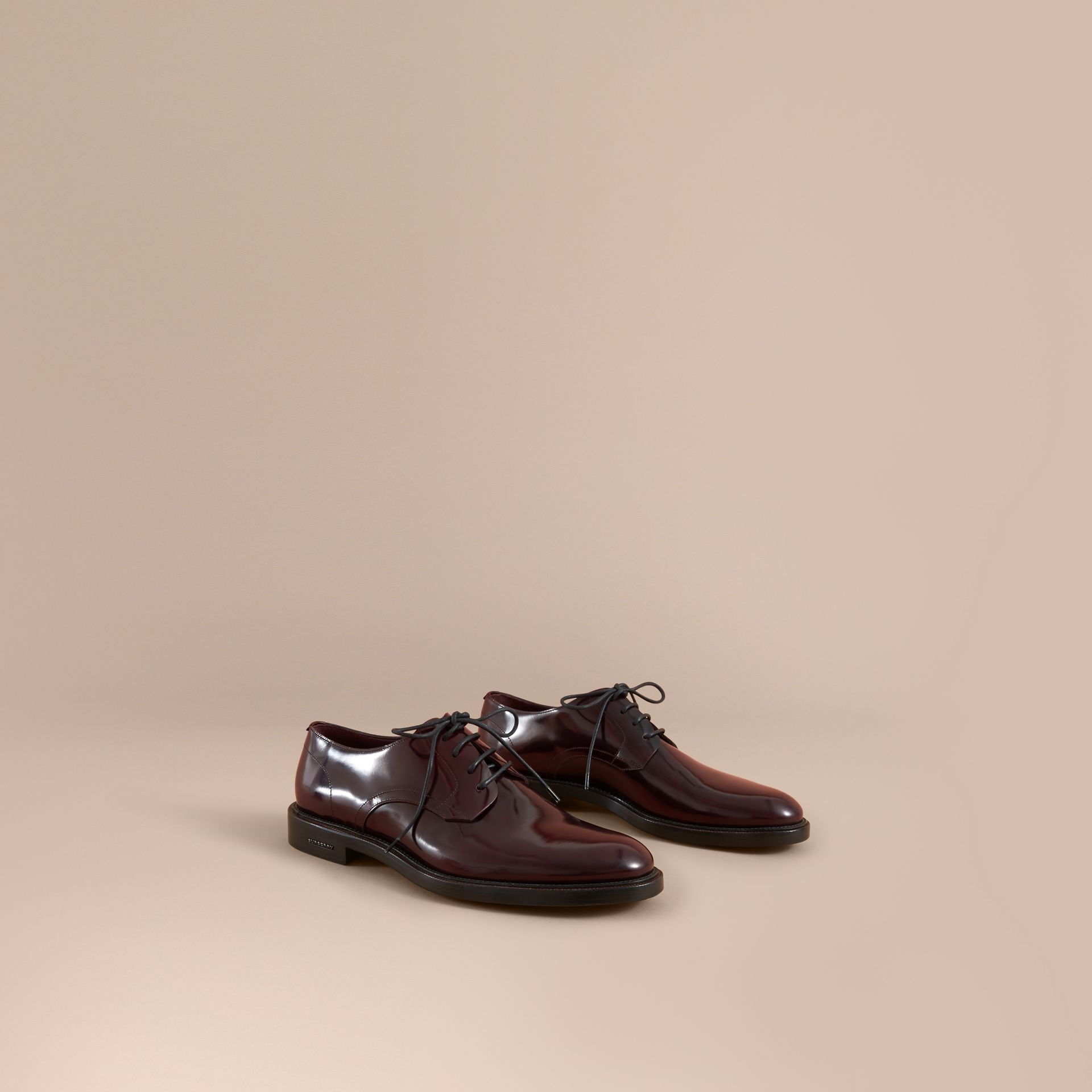 Polished Leather Derby Shoes in Rust Red - Men | Burberry United Kingdom - gallery image 0