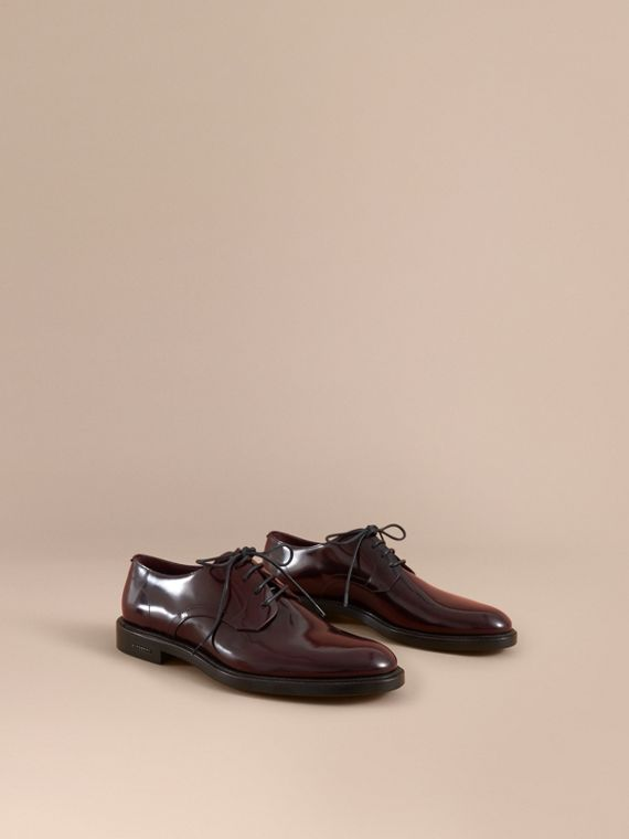 Polished Leather Derby Shoes in Rust Red