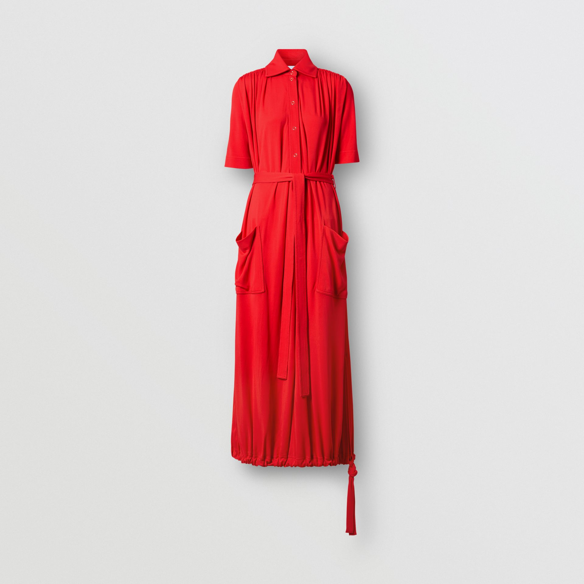 Short-sleeve Gathered Jersey Dress in Bright Red - Women | Burberry United Kingdom - gallery image 3