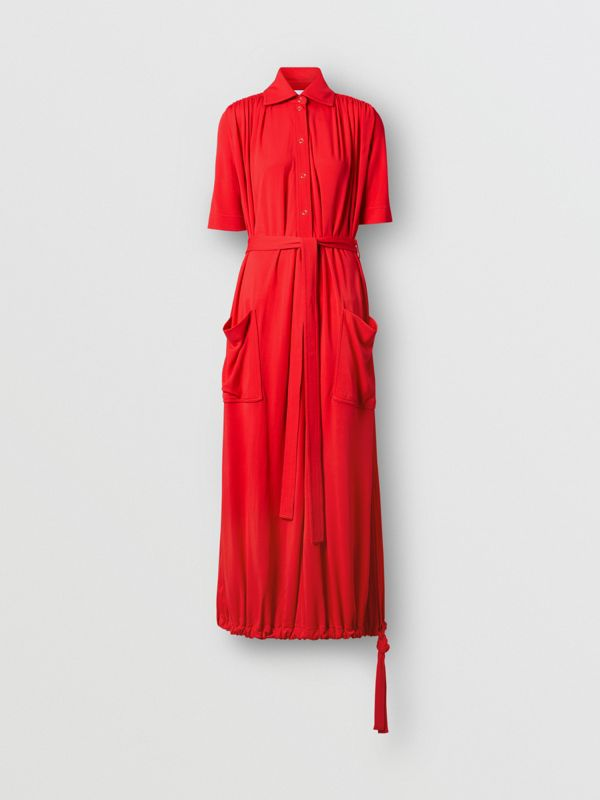 Short-sleeve Gathered Jersey Dress in Bright Red - Women | Burberry United Kingdom - cell image 3