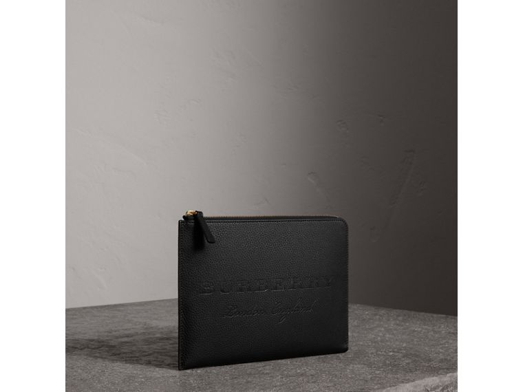 Embossed Leather Ziparound Pouch and Coin Case in Black | Burberry United States - cell image 4