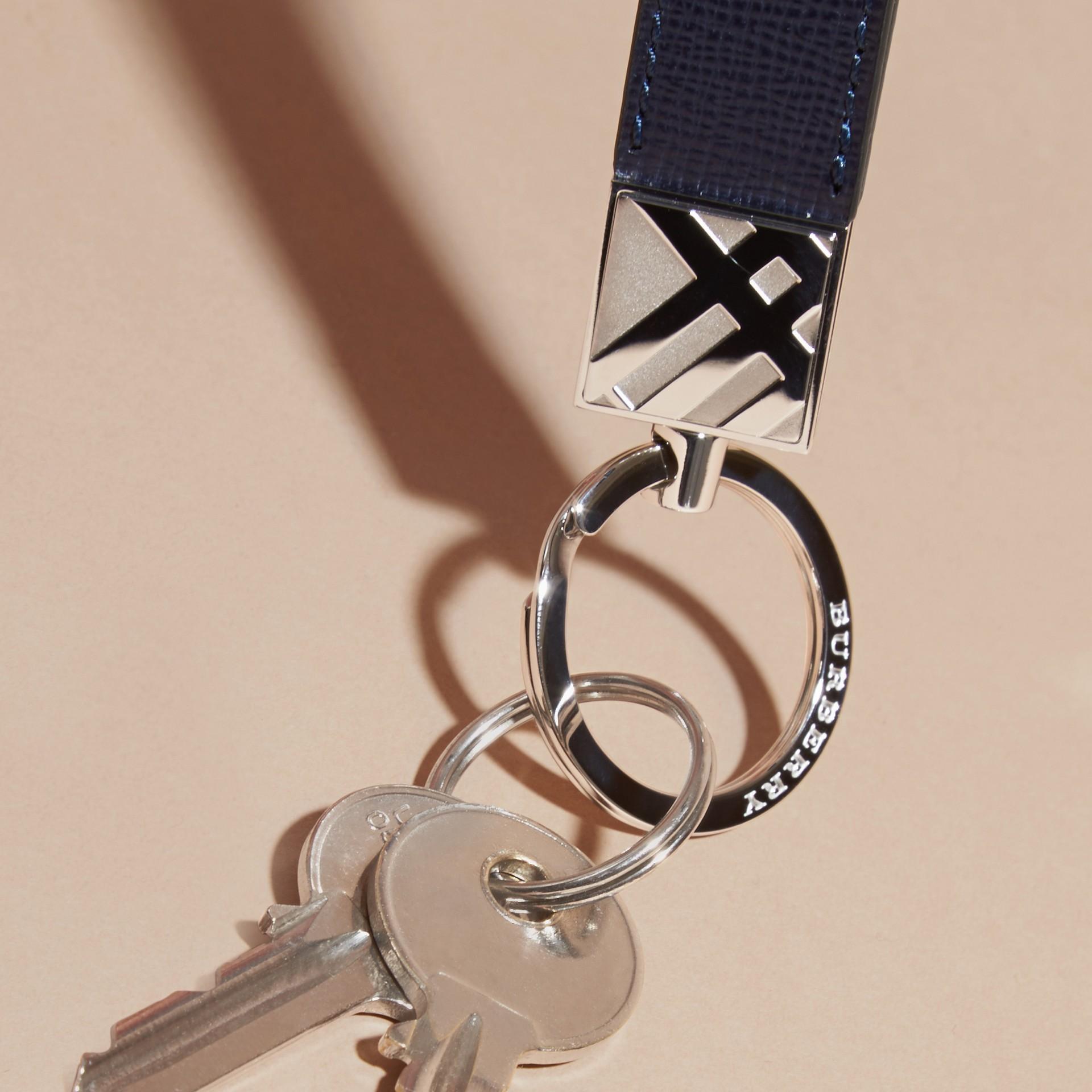 Dark navy London Leather Key Ring Dark Navy - gallery image 3