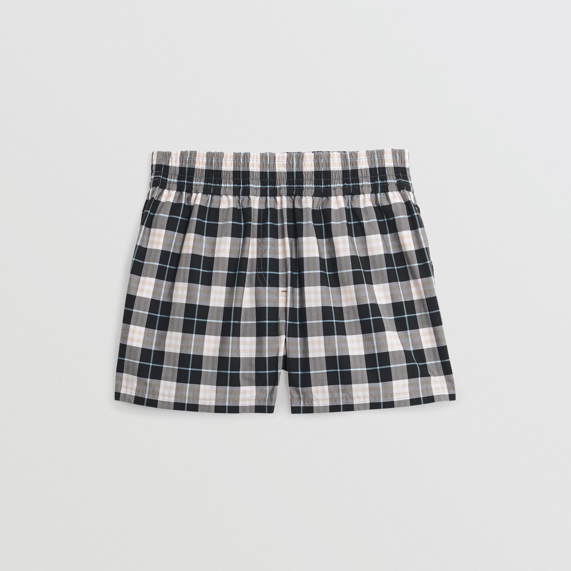 Check Cotton High-waisted Shorts in Pink Apricot - Women | Burberry - gallery image 3