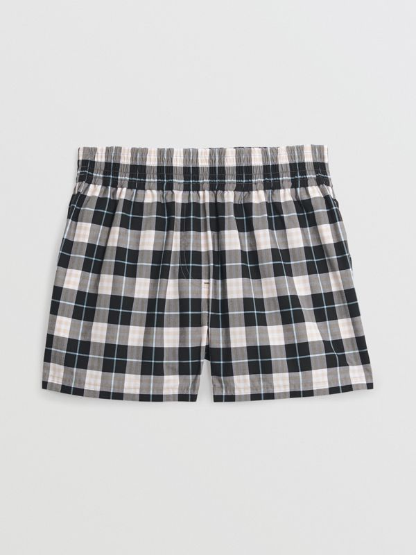 Check Cotton High-waisted Shorts in Pink Apricot - Women | Burberry - cell image 3