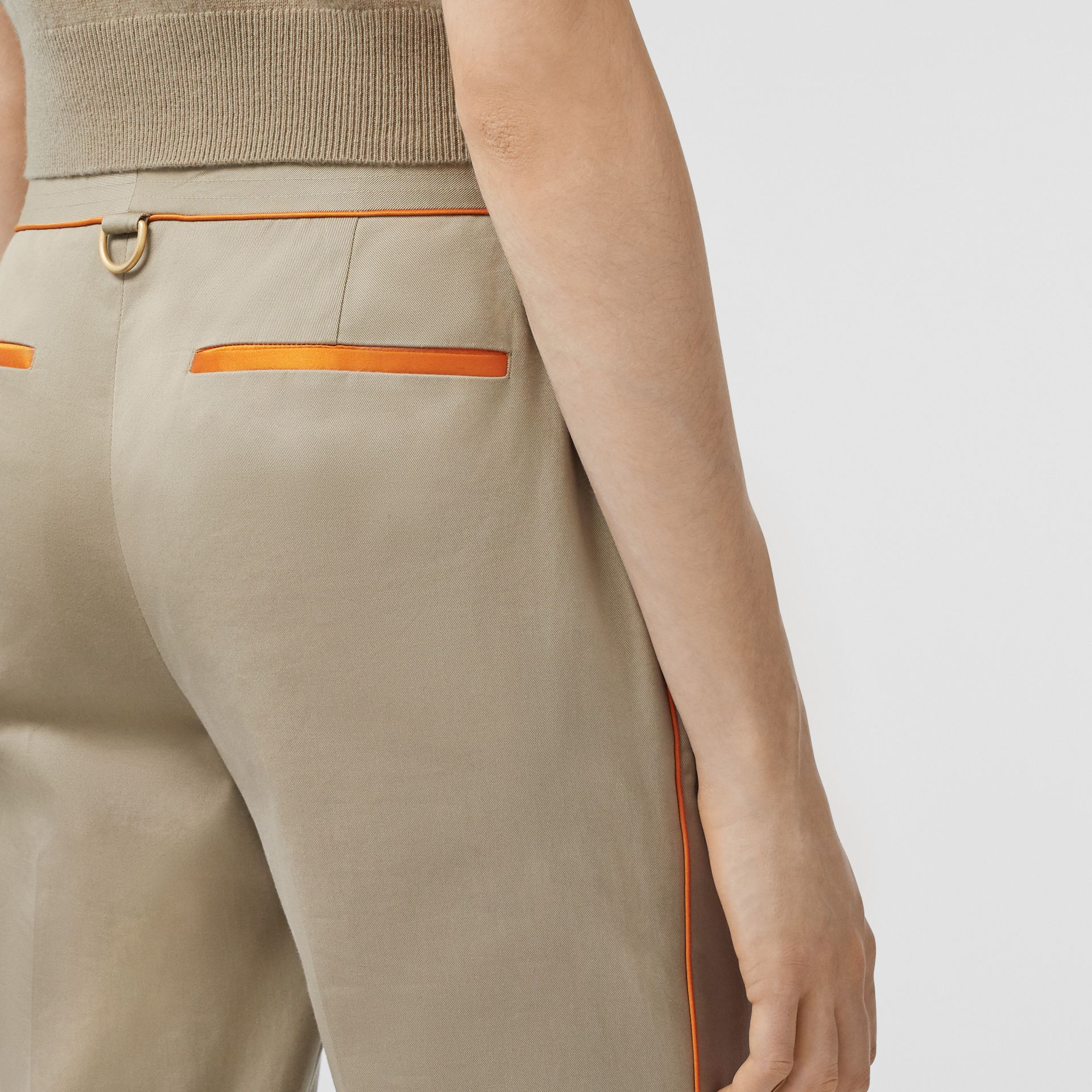 Silk Trim Cropped Cotton Chinos in Honey - Women | Burberry - gallery image 1