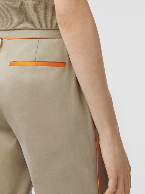 Silk Trim Cropped Cotton Chinos in Honey - Women | Burberry - cell image 1