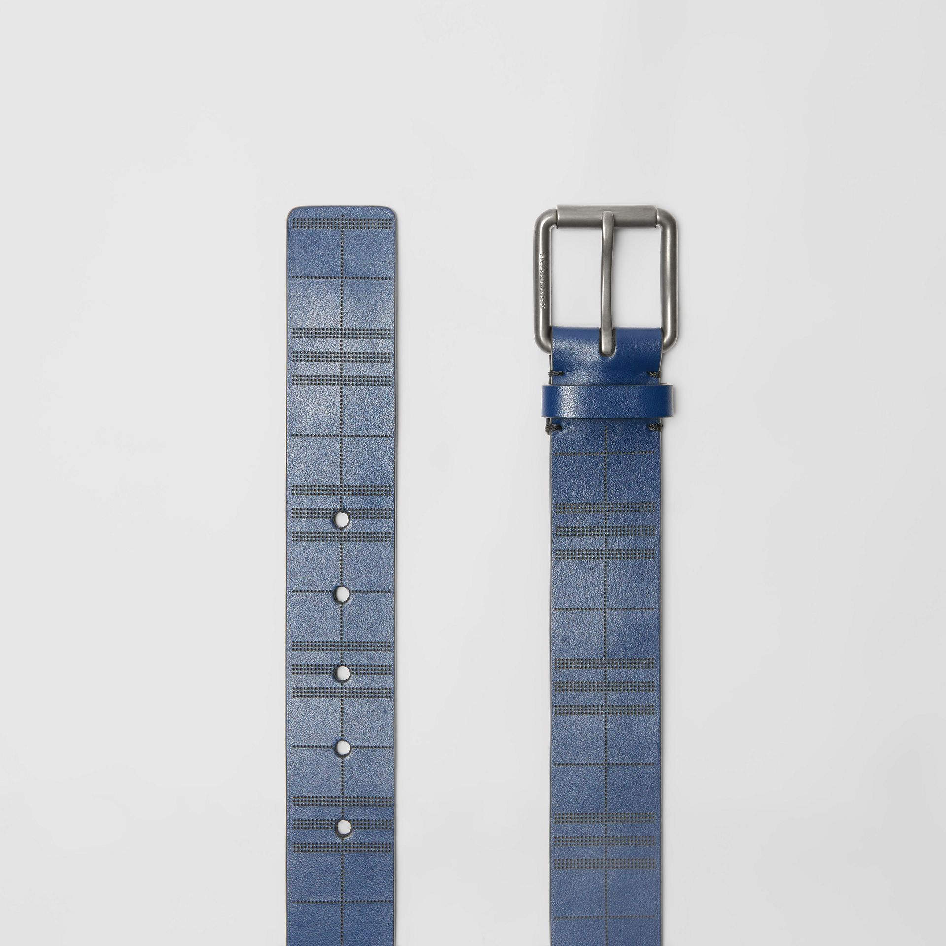 Perforated Check Leather Belt in Ink Blue - Men | Burberry United Kingdom - gallery image 5