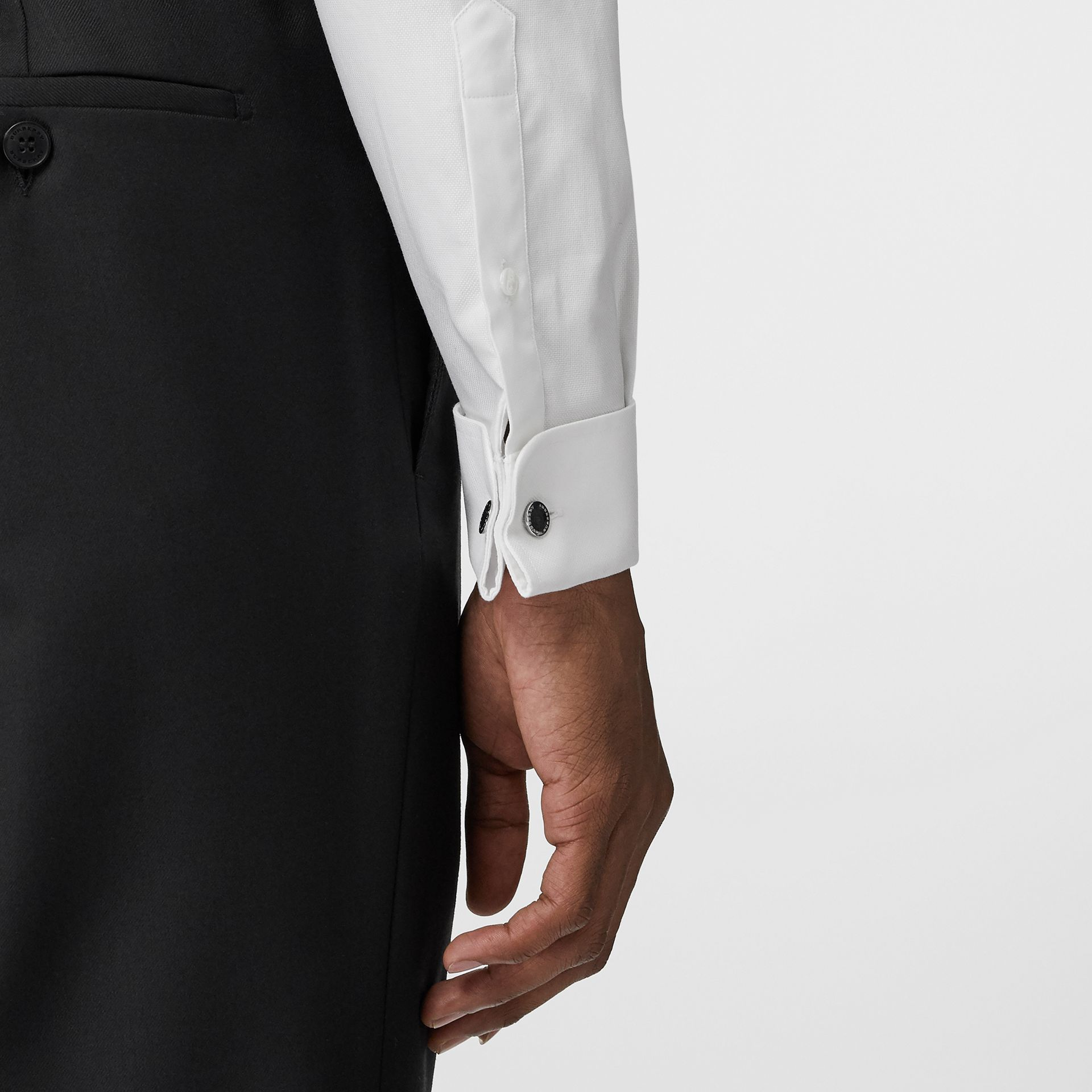 Modern Fit Double Cuff Cotton Shirt in White - Men | Burberry - gallery image 1