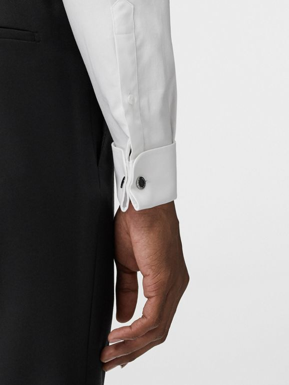 Modern Fit Double Cuff Cotton Shirt in White - Men | Burberry United States - cell image 1