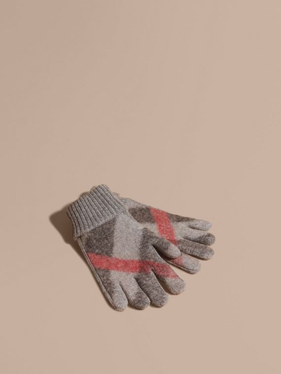 Check Detail Wool Cashmere Gloves