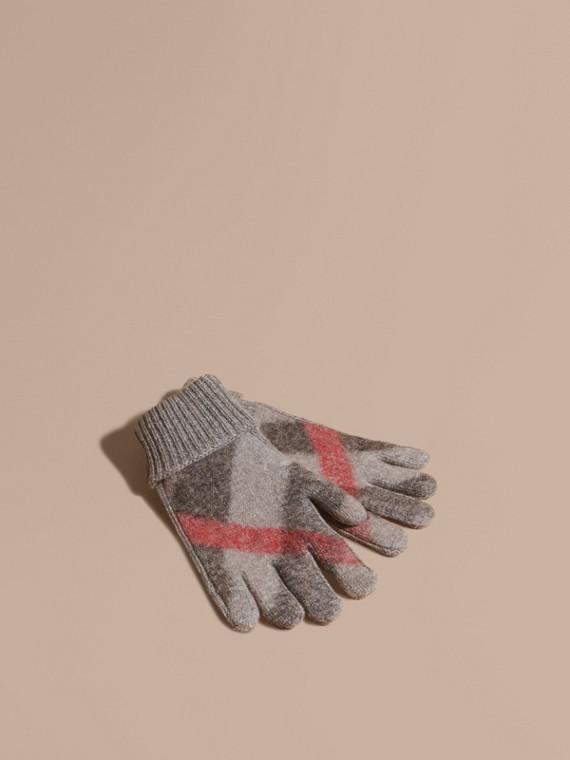 Luvas de lã e cashmere com detalhe xadrez
