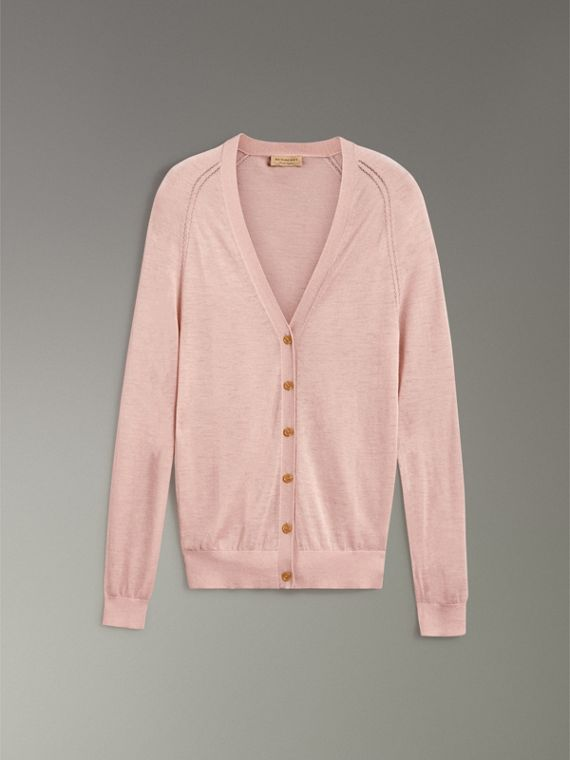 Open-stitch Detail Cashmere Cardigan in Thistle Pink - Women | Burberry - cell image 3