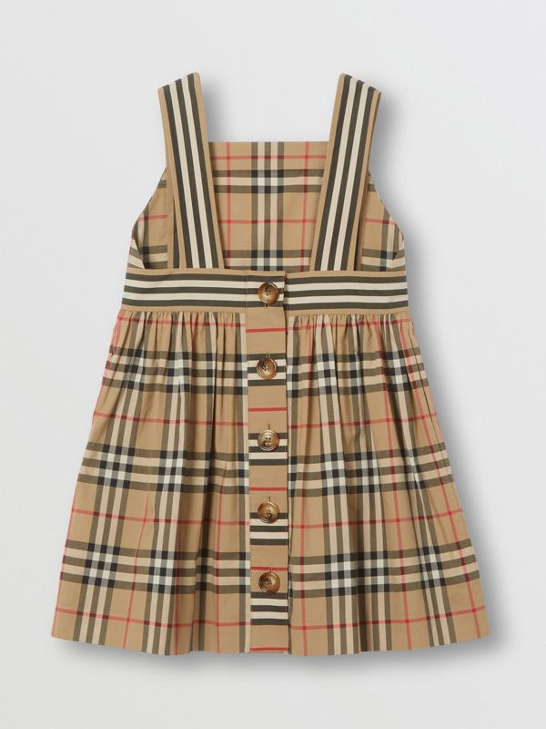 Vintage Check Cotton Dress in Archive Beige | Burberry Australia - cell image 3