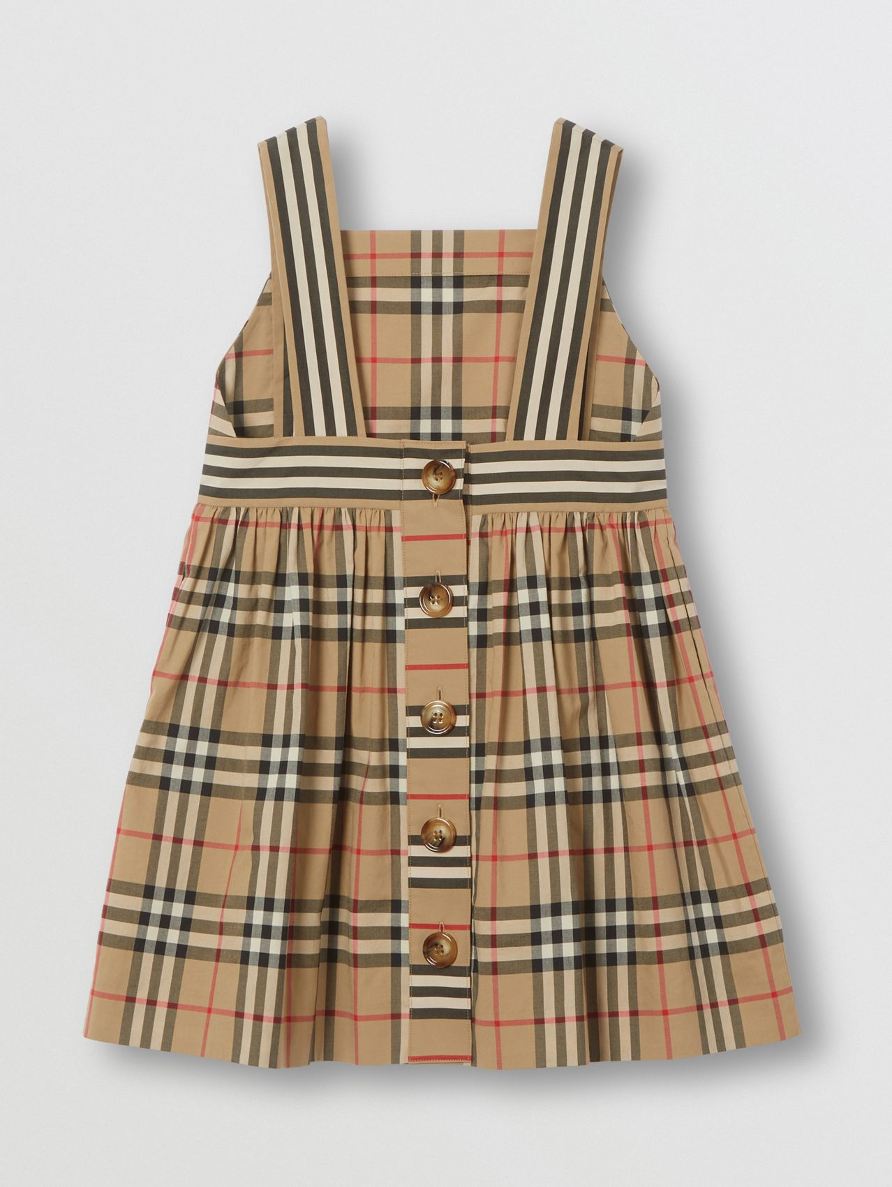 Robe en coton Vintage check in Beige D'archive
