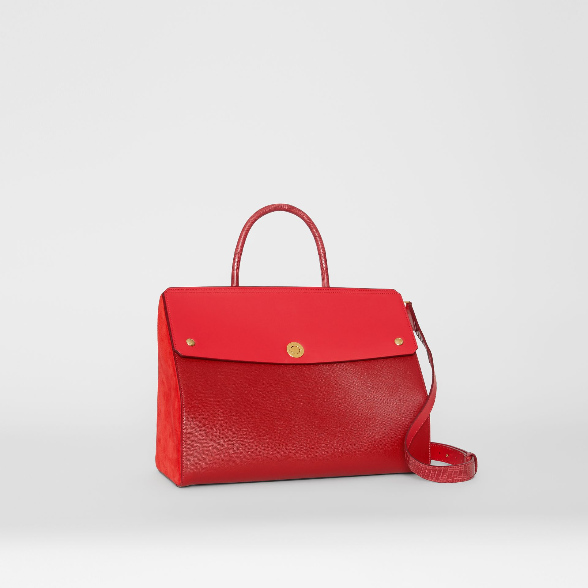 Small Leather and Suede Elizabeth Bag in Bright Military Red - Women | Burberry - gallery image 6