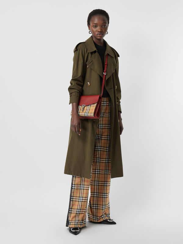Small Vintage Check and Leather Crossbody Bag in Crimson - Women | Burberry Australia - cell image 2