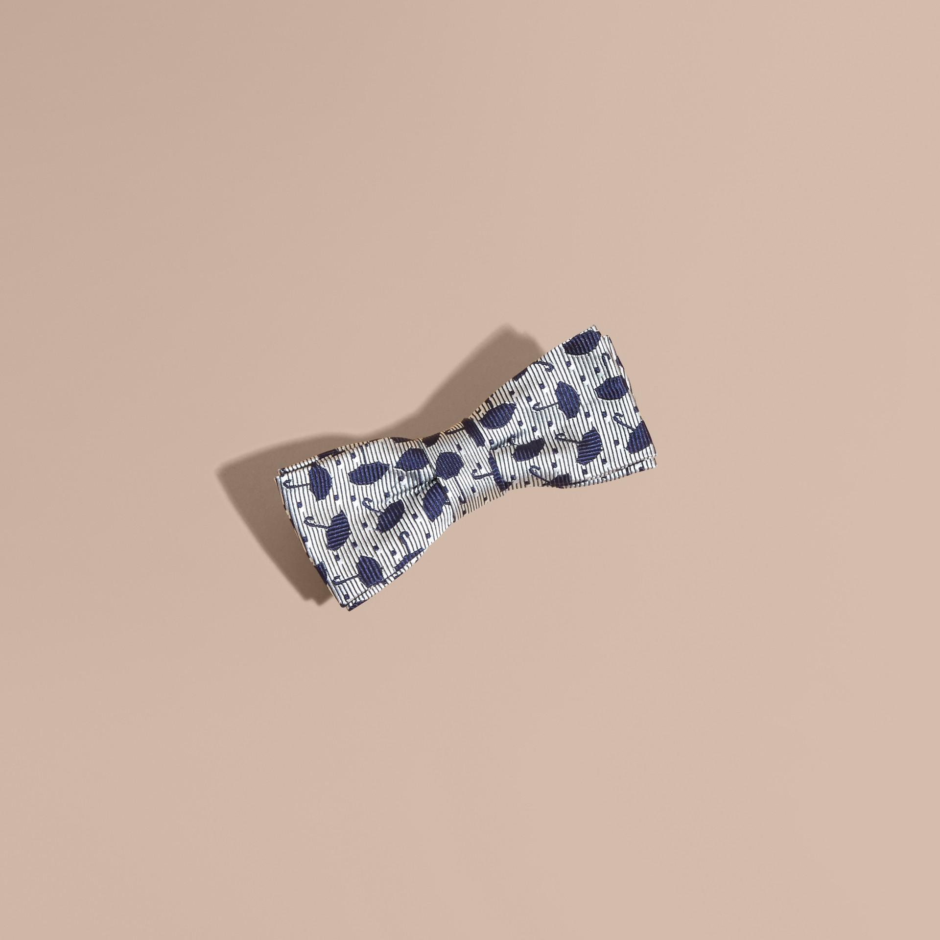 Umbrella Motif Metallic Silk Bow Tie - gallery image 1