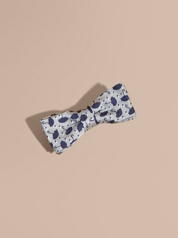 Umbrella Motif Metallic Silk Bow Tie