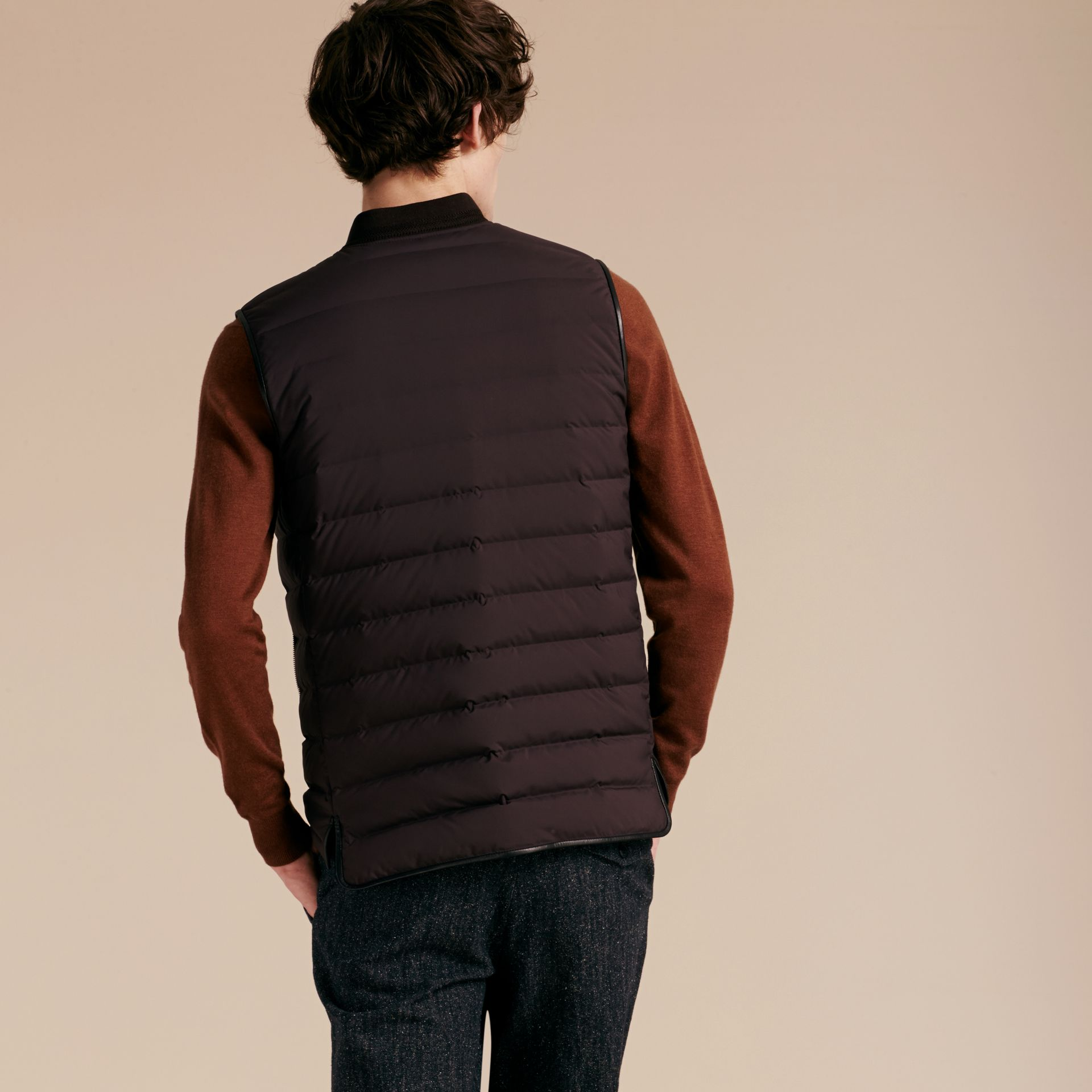 Elderberry Lambskin Trim Down-filled Gilet - gallery image 3