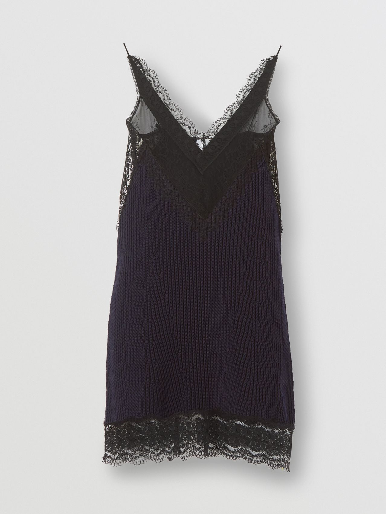 Lace Detail Technical Cotton Slip Dress in Ink Blue