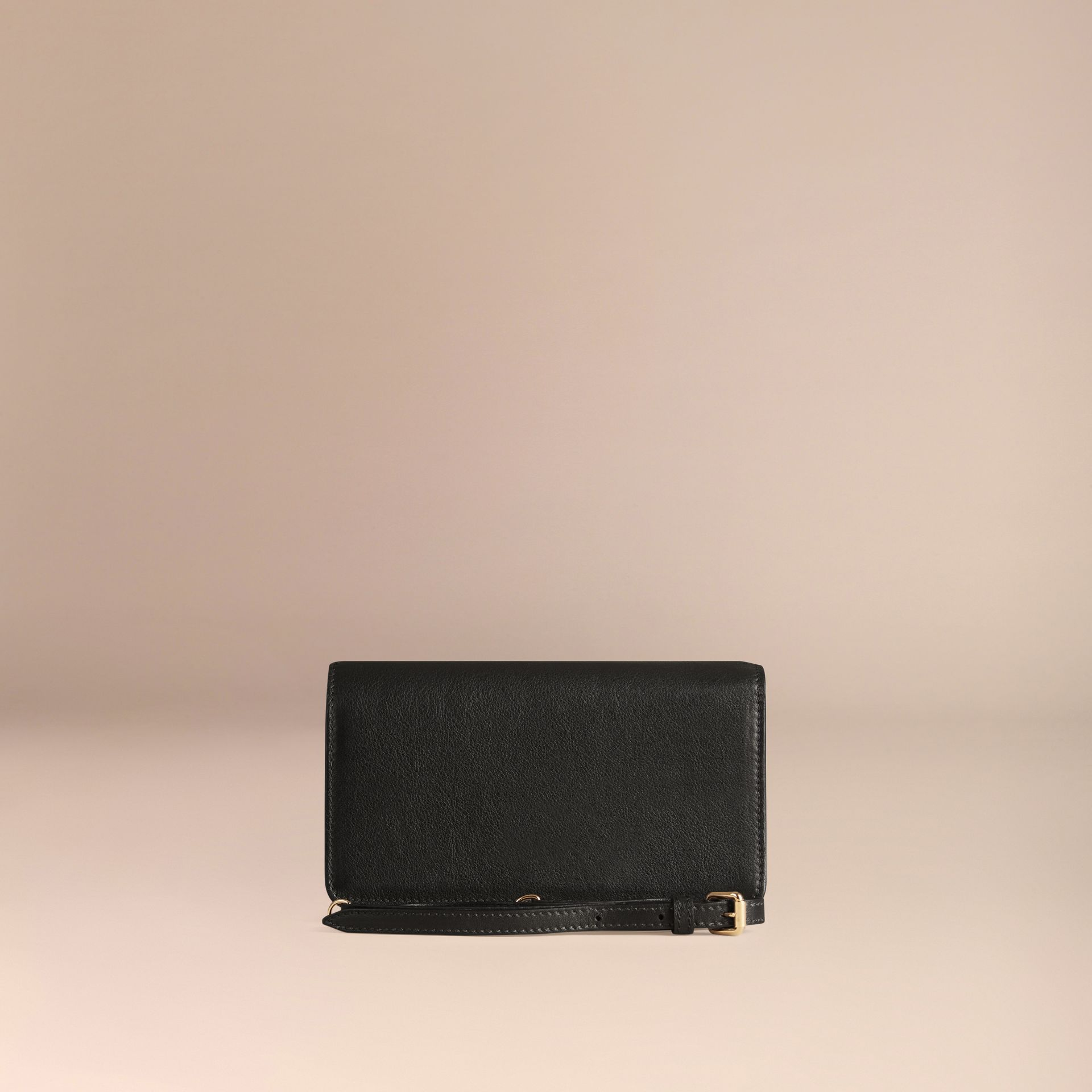 Black Leather Clutch Bag with Chain - gallery image 4
