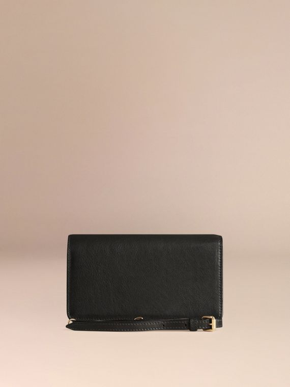 Black Leather Clutch Bag with Chain - cell image 3