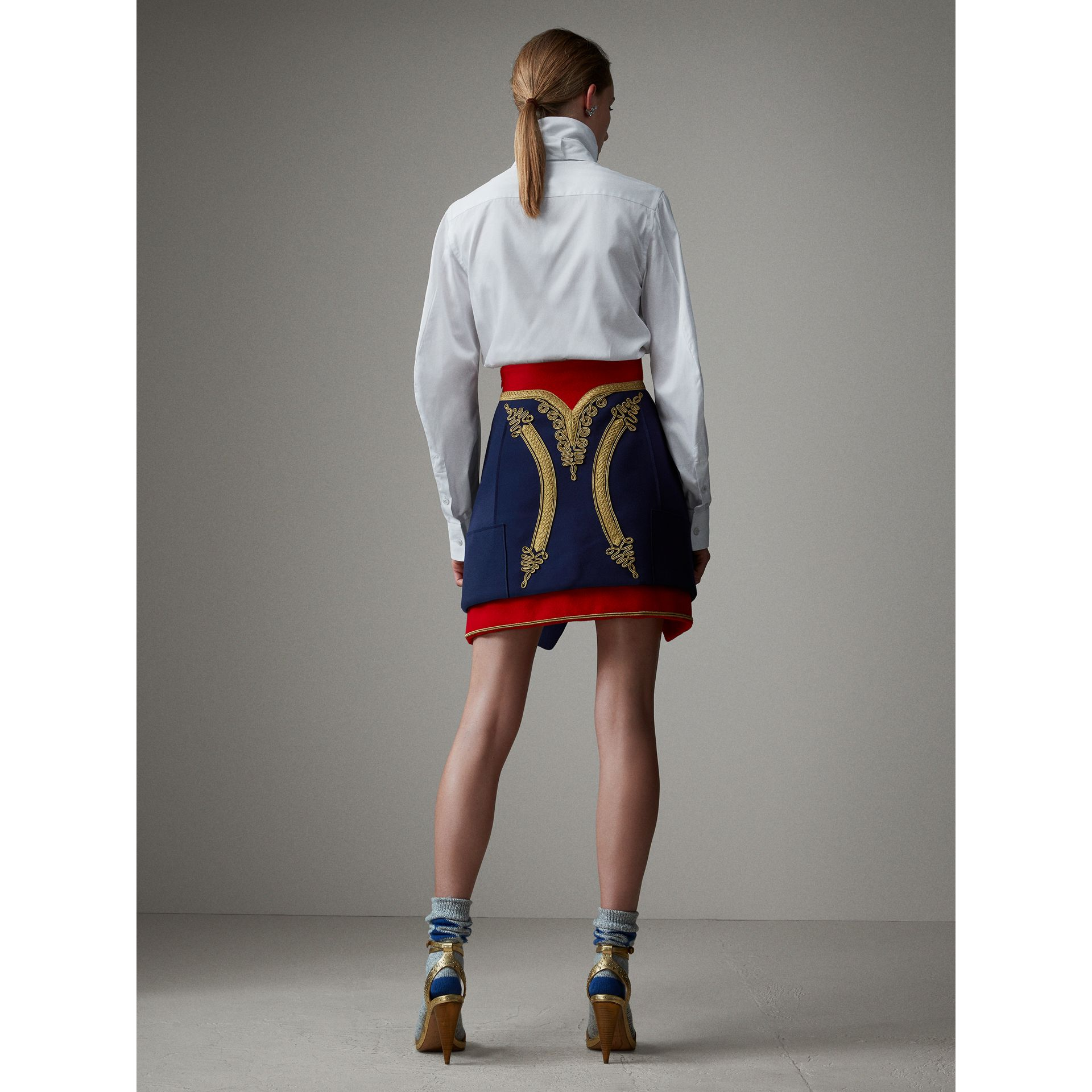 Regalia Detail Wool Ceremonial Skirt in Bright Navy - Women | Burberry - gallery image 3