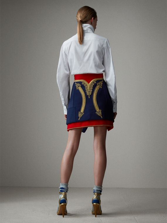 Regalia Detail Wool Ceremonial Skirt in Bright Navy - Women | Burberry Hong Kong - cell image 2