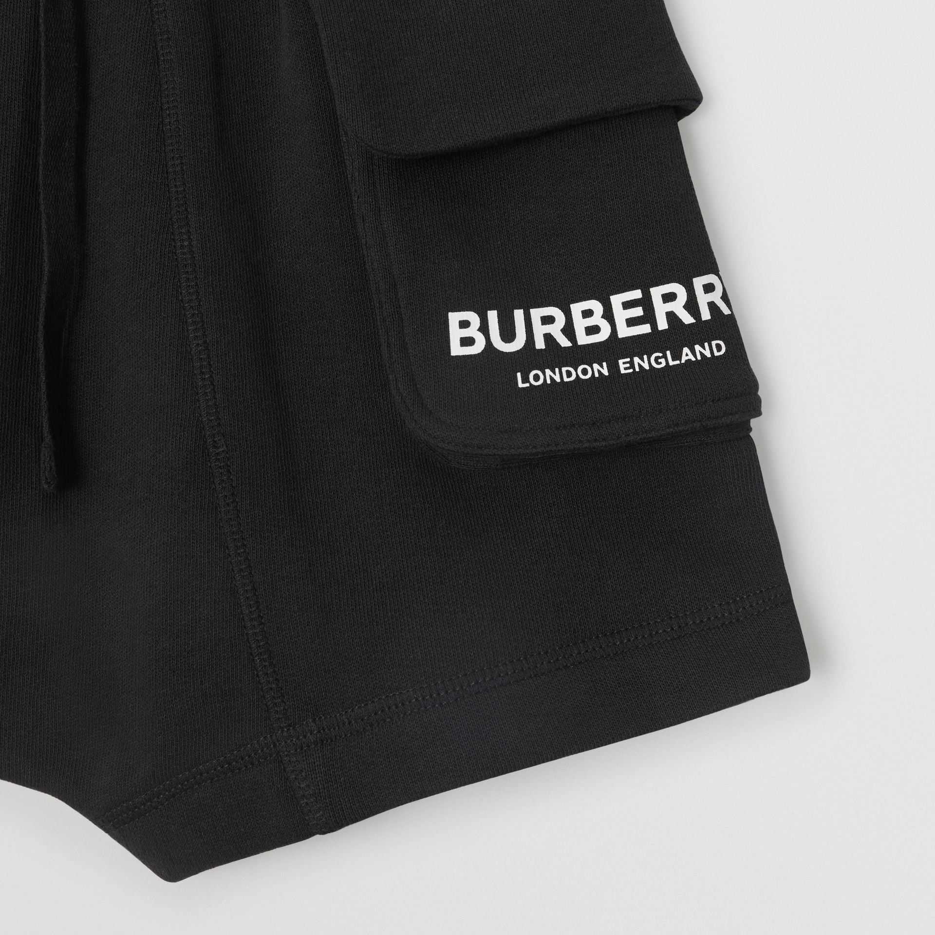 Logo Print Cotton Drawcord Shorts in Black | Burberry - gallery image 4