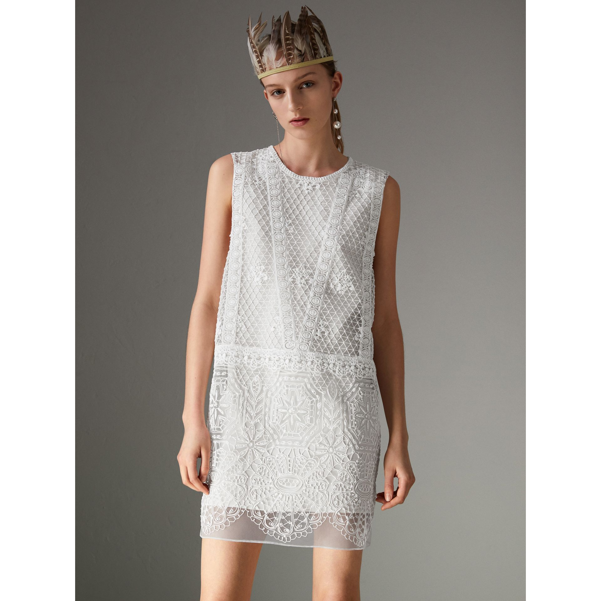 Silicone Lace Mini Dress in White - Women | Burberry Singapore - gallery image 4