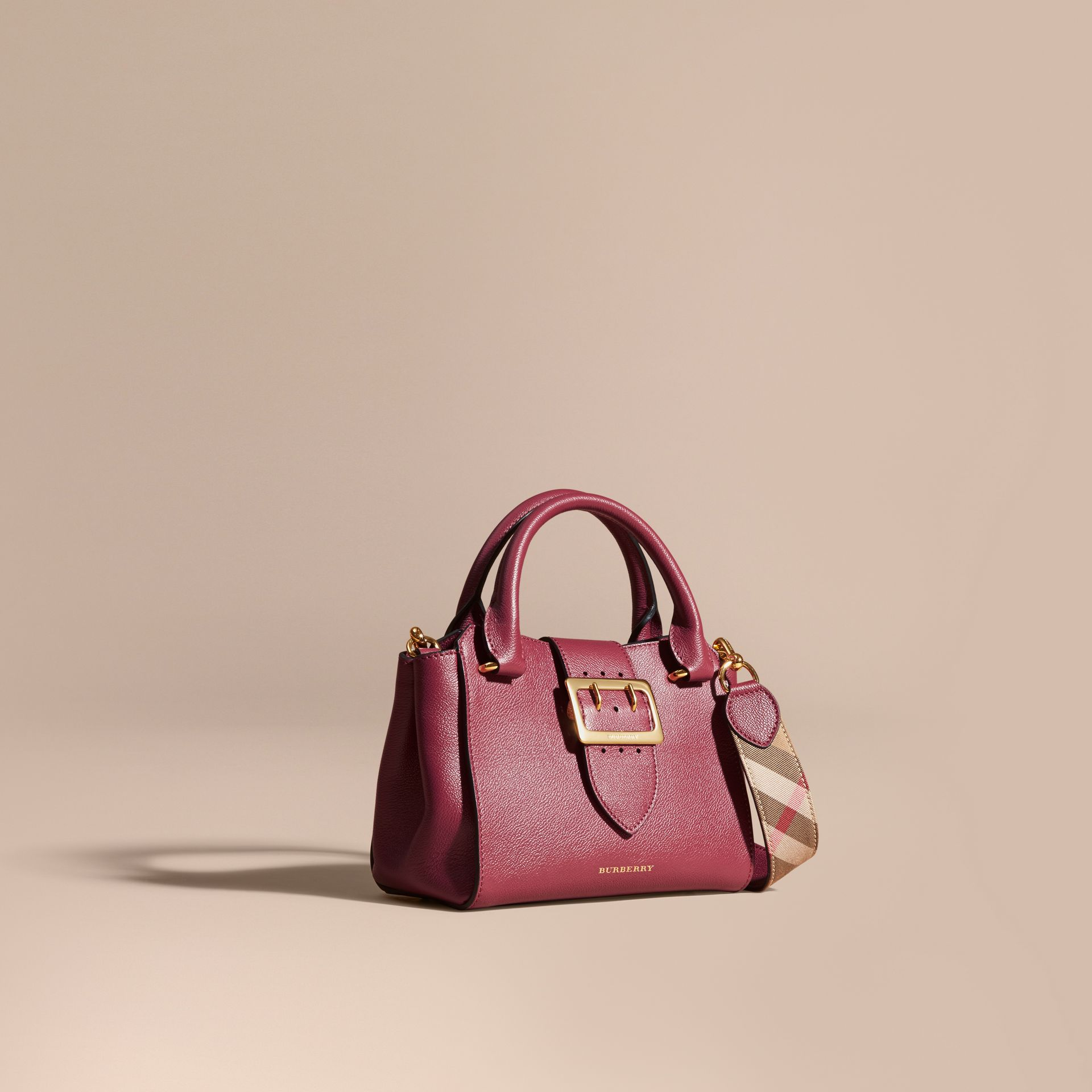 The Small Buckle Tote in Grainy Leather Dark Plum - gallery image 1
