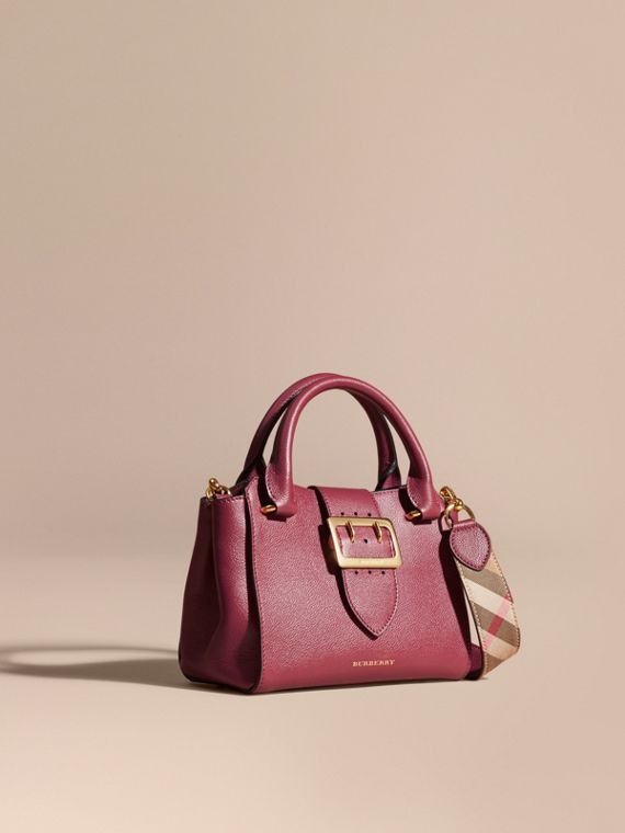 The Small Buckle Tote in Grainy Leather Dark Plum