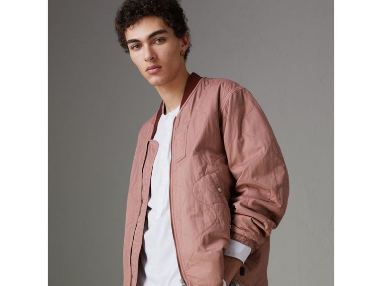 Lightweight Quilted Cotton Bomber Jacket in Rosewood - Men | Burberry - cell image 4