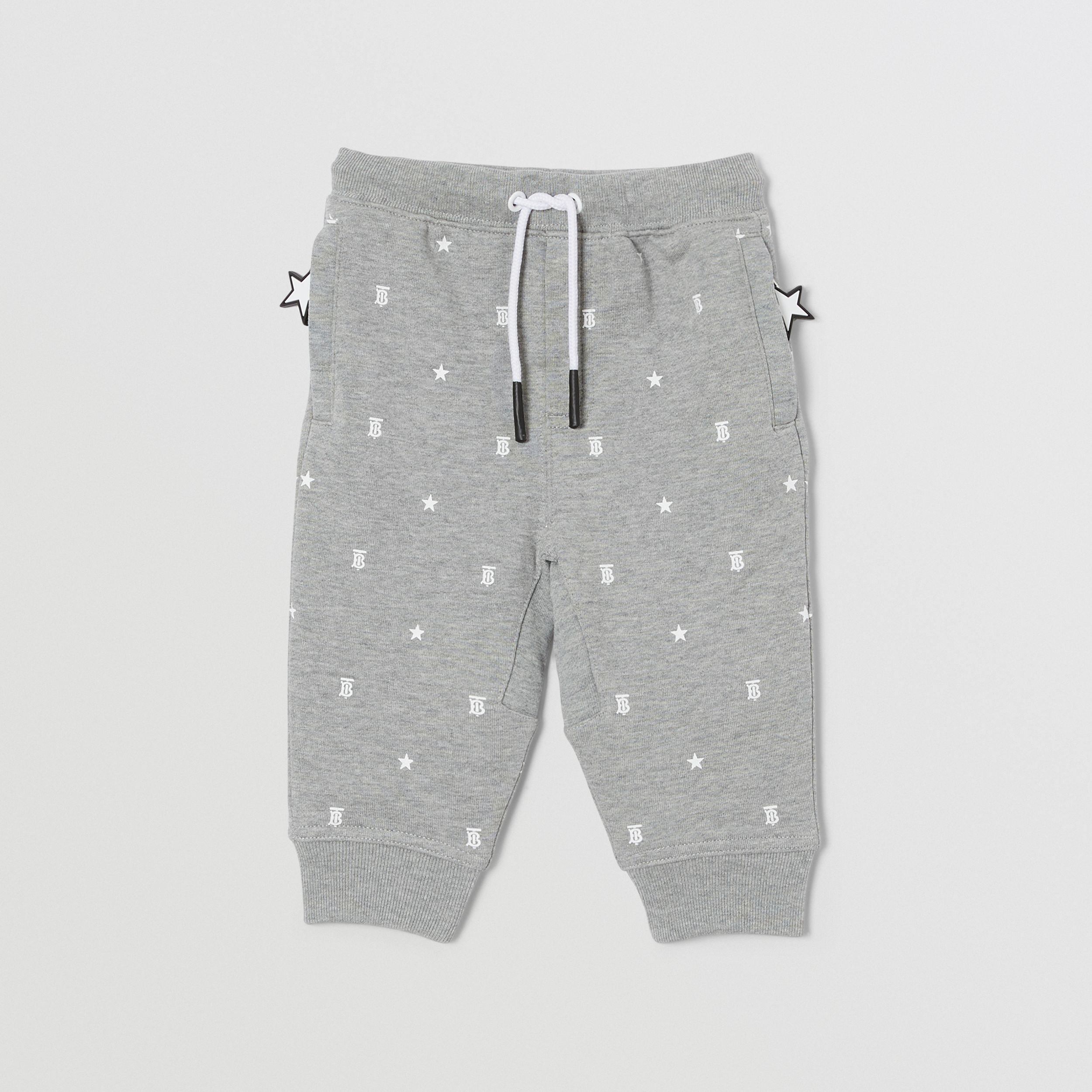 Star and Monogram Motif Cotton Jogging Pants in Grey - Children | Burberry - 1