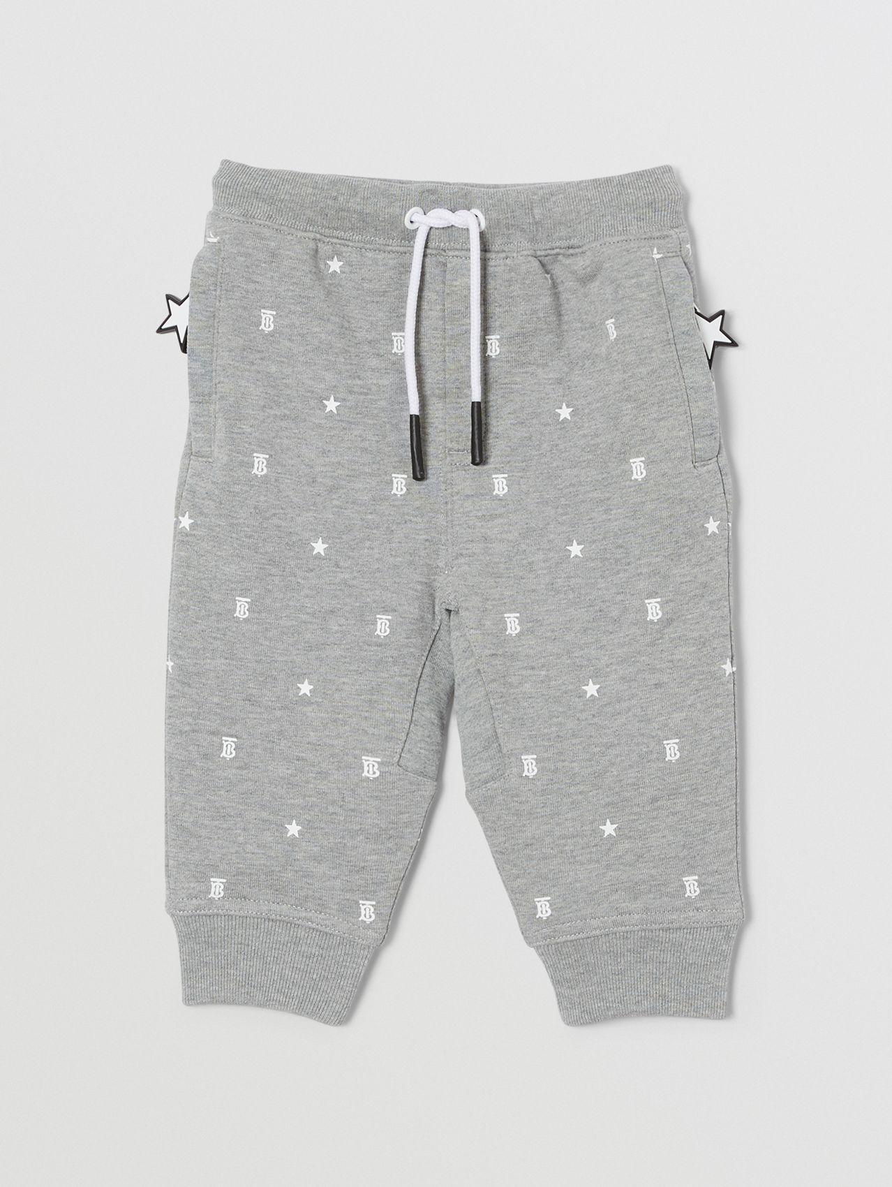 Star and Monogram Motif Cotton Jogging Pants in Grey