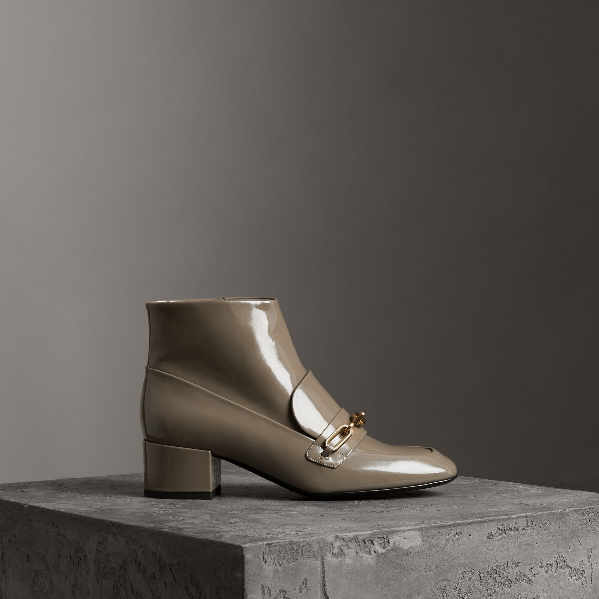 Link Detail Patent Leather Ankle Boots in Taupe Grey - Women | Burberry Canada - gallery image 0