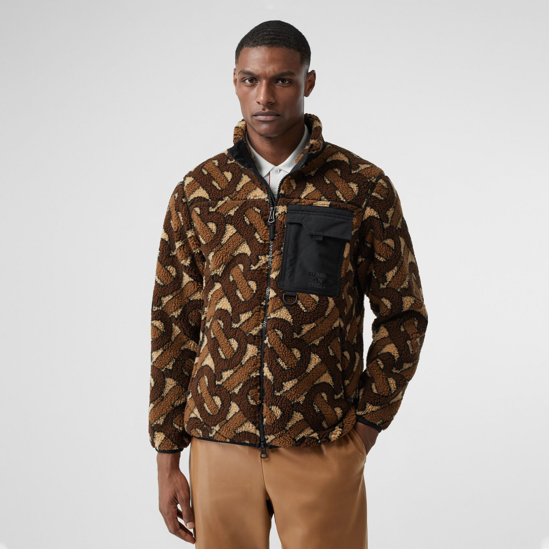 Monogram Fleece Jacquard Jacket in Bridle Brown - Men | Burberry - gallery image 5