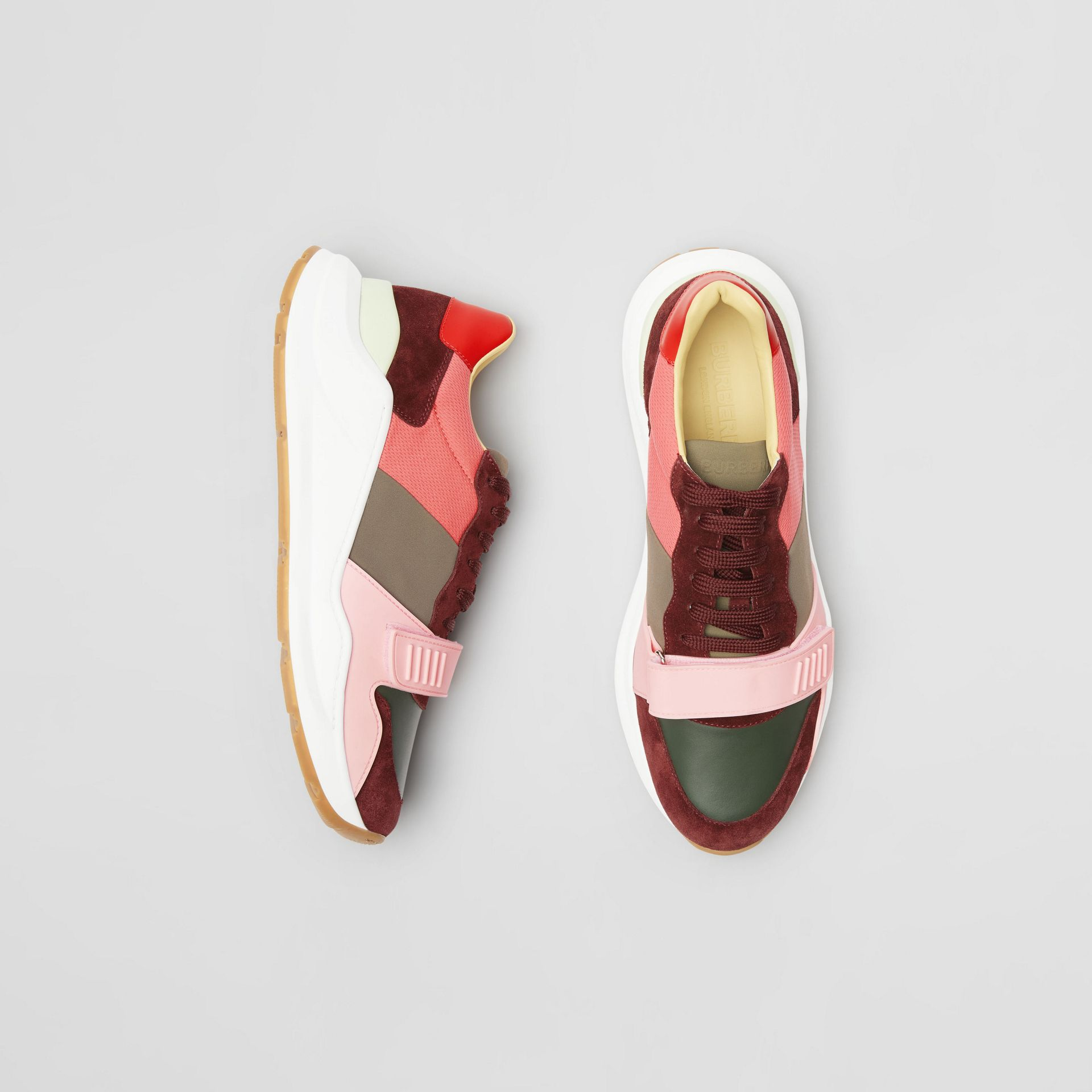 Colour Block Suede and Neoprene Sneakers in Bordeaux/khaki - Men | Burberry Canada - gallery image 0