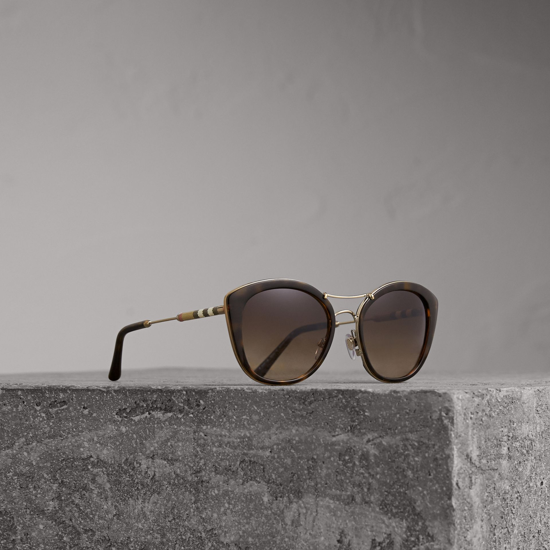 Check Detail Round Frame Sunglasses in Dark Brown - Women | Burberry Canada - gallery image 0