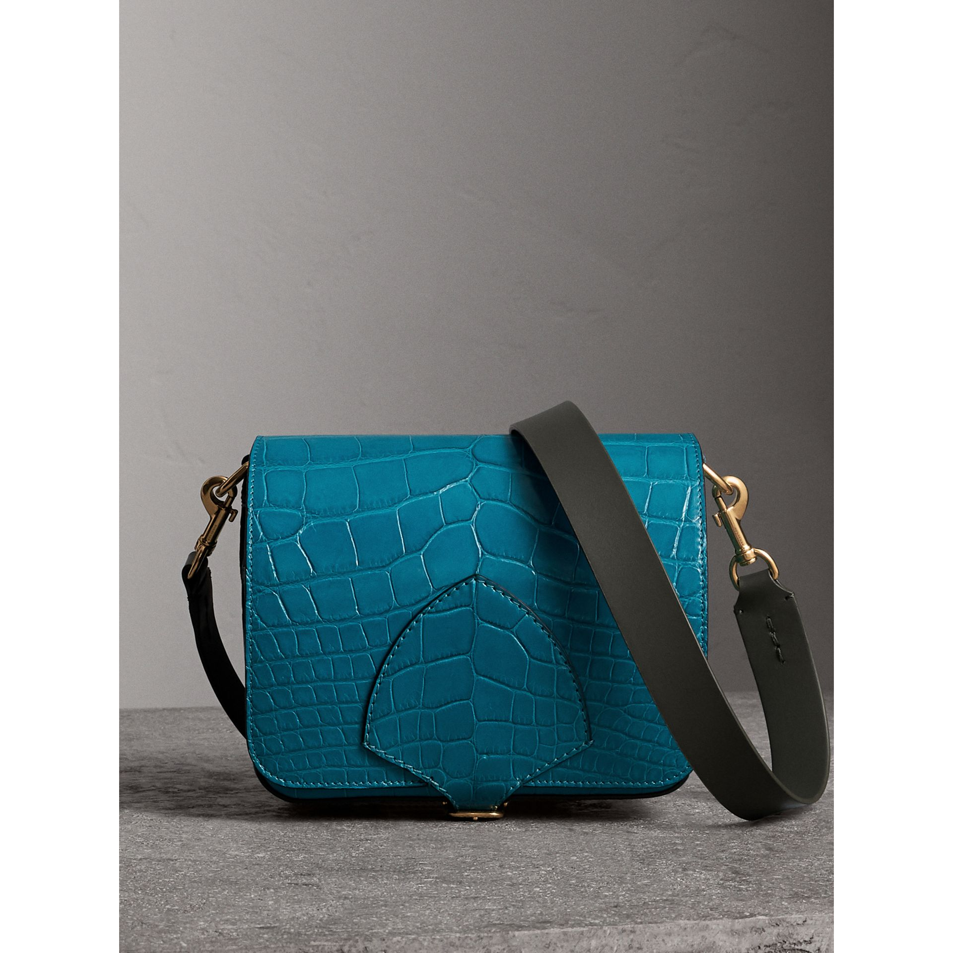 The Square Satchel in Alligator in Dark Teal - Women | Burberry United Kingdom - gallery image 1